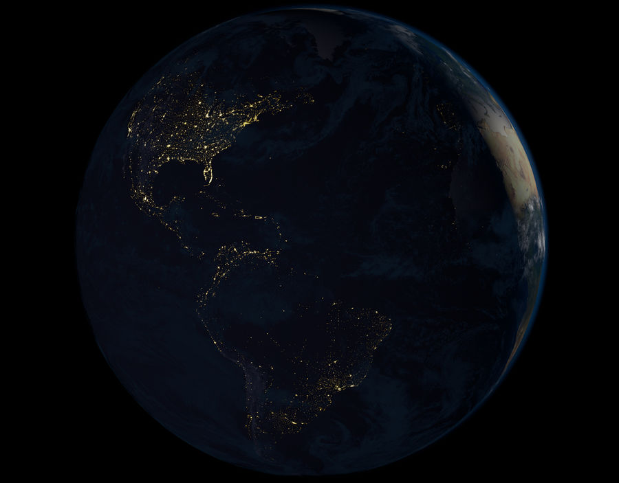 16k Planet Earth - Day & Night royalty-free 3d model - Preview no. 5