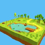 Cartoon Forest Pond 3d model