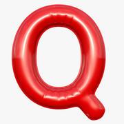 Folie Balloon Letter Q Röd modell 3d model