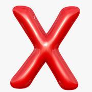 Foil Balloon Letter X Red model modelo 3d