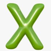 Foil Balloon Letter X Modelo verde modelo 3d