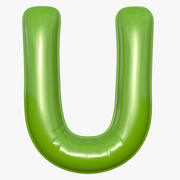 Foil Balloon Letter U Modelo verde modelo 3d