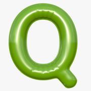 Foil Balloon Letter Q Modelo verde modelo 3d