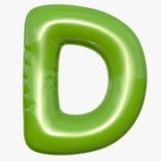 Foil Balloon Letter D Modelo verde modelo 3d