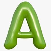 Foil Balloon Letter A Modelo verde modelo 3d