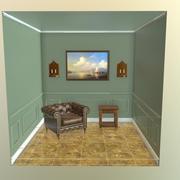 Sala com cadeira e mesa cena 3d model
