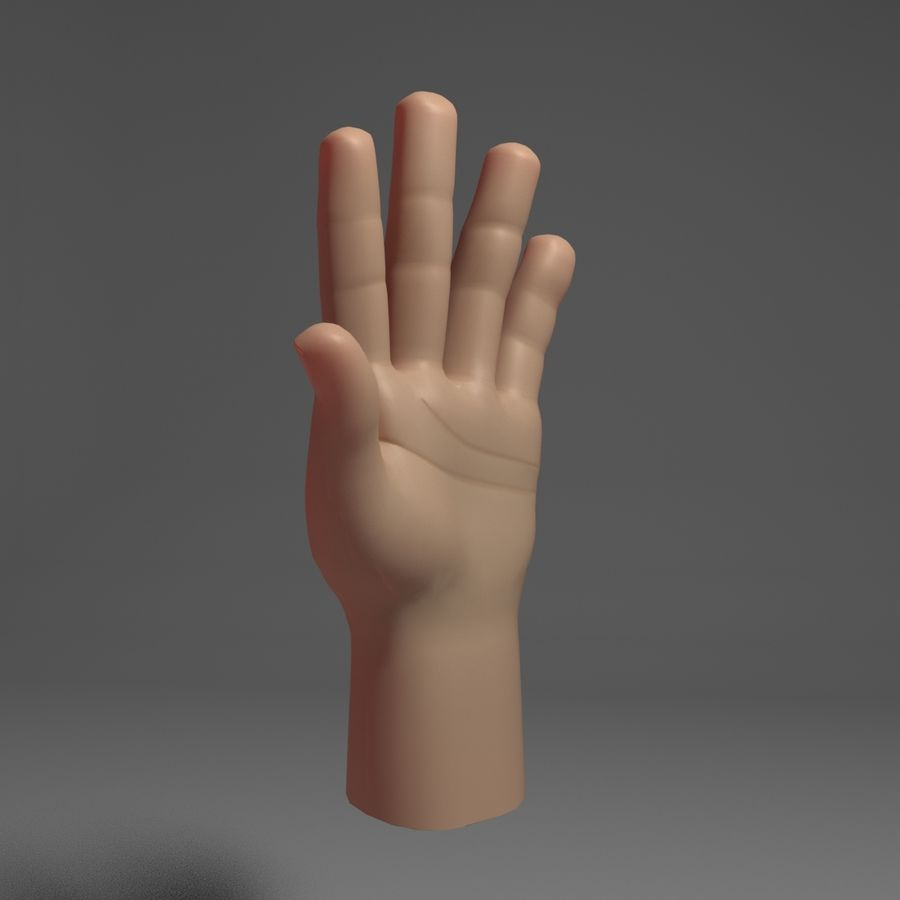 Toon Hand royalty-free 3d model - Preview no. 2