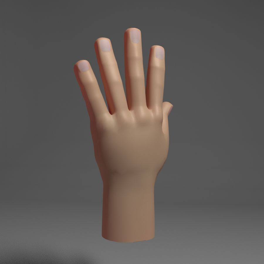 Toon Hand royalty-free 3d model - Preview no. 5