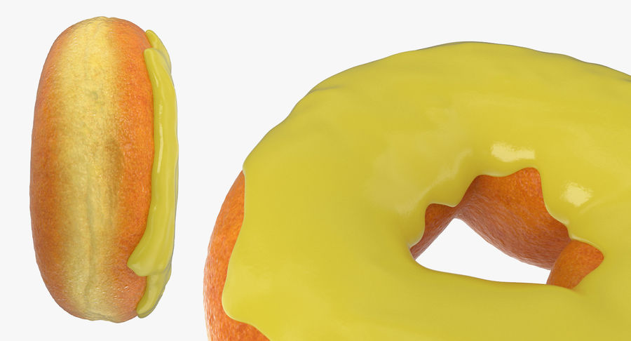 Yellow Donut 3D Model royalty-free 3d model - Preview no. 8