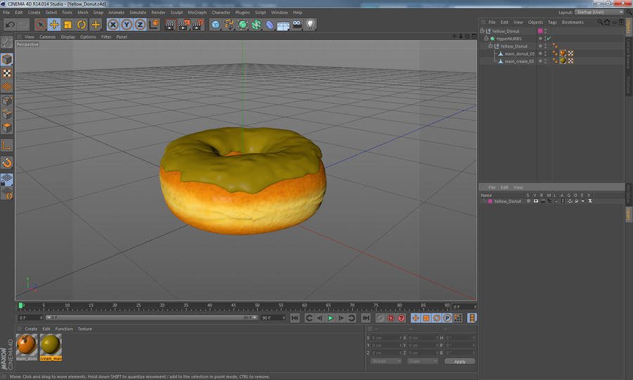 Yellow Donut 3D Model royalty-free 3d model - Preview no. 16