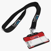 Cordão GoPro com suporte de cartão de identificação de plástico 3d model