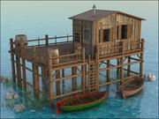 Коттедж на озере 3d model