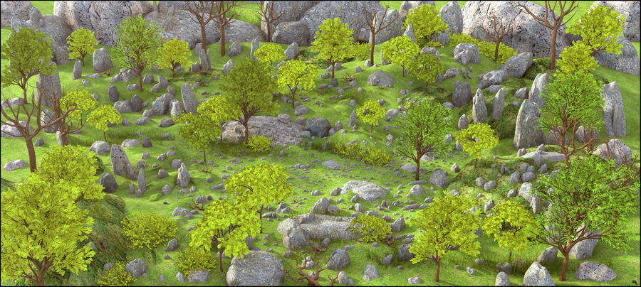 Medio ambiente natural de montaña. royalty-free modelo 3d - Preview no. 1