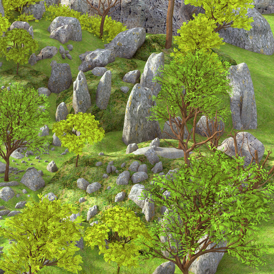 Berg natuur milieu. royalty-free 3d model - Preview no. 3