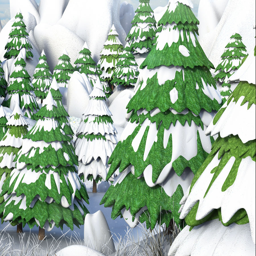 Winter Evergreen Landscape royalty-free 3d model - Preview no. 4