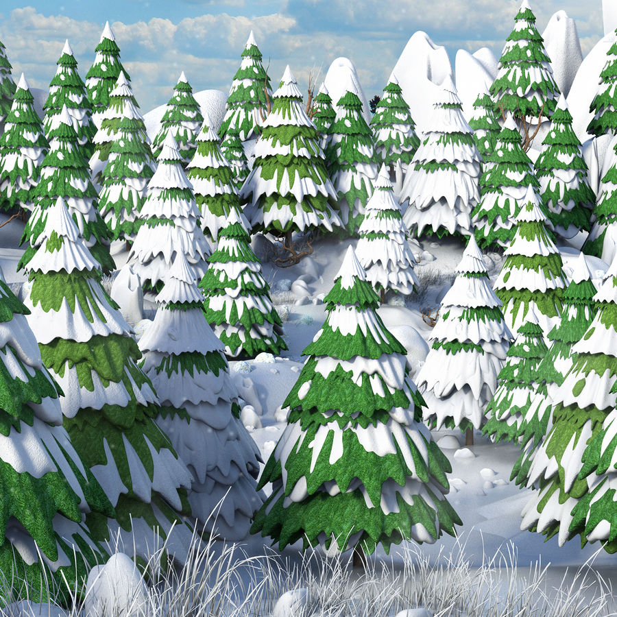 Winter Evergreen Landscape royalty-free 3d model - Preview no. 5