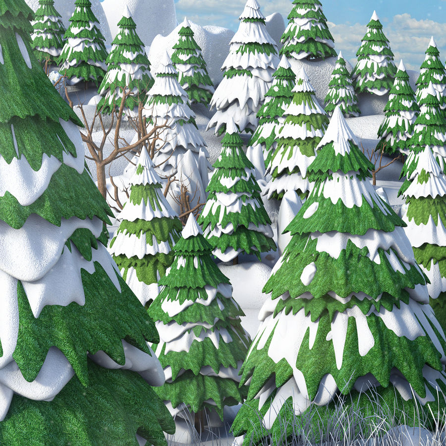 Winter Evergreen Landscape royalty-free 3d model - Preview no. 3