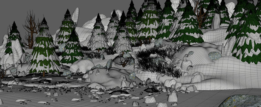 Winter Evergreen Landscape royalty-free 3d model - Preview no. 13