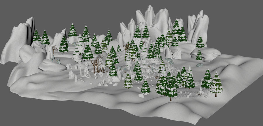 Winter Evergreen Landscape royalty-free 3d model - Preview no. 7