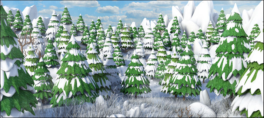 Winter Evergreen Landscape royalty-free 3d model - Preview no. 1
