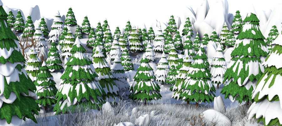 Winter Evergreen Landscape royalty-free 3d model - Preview no. 2