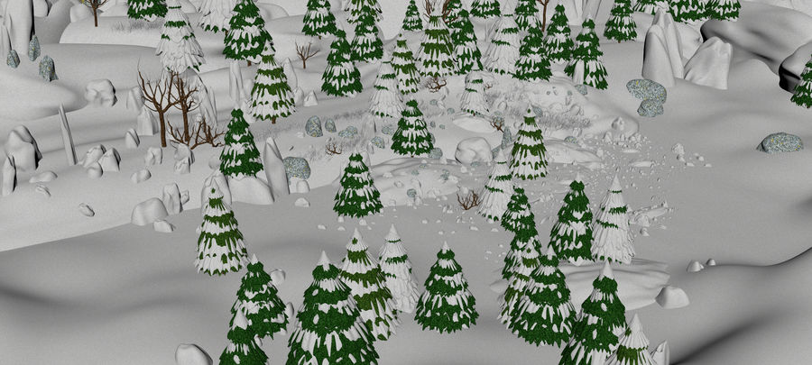 Winter Evergreen Landscape royalty-free 3d model - Preview no. 9