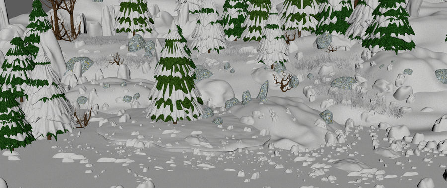 Winter Evergreen Landscape royalty-free 3d model - Preview no. 11