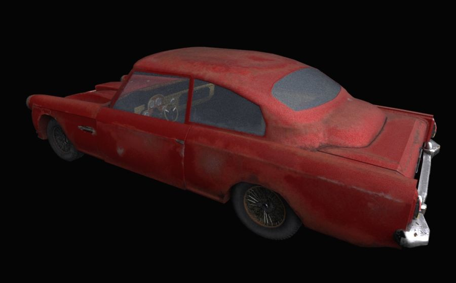 Abandoned Old Luxury Car royalty-free 3d model - Preview no. 3