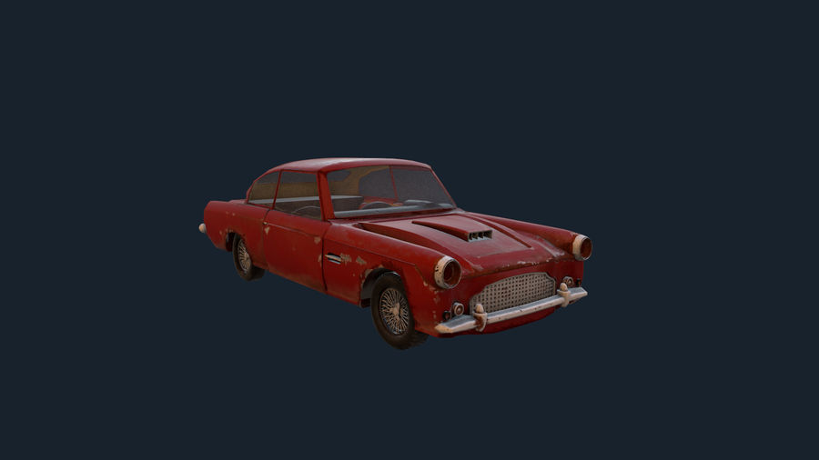 Abandoned Old Luxury Car royalty-free 3d model - Preview no. 6