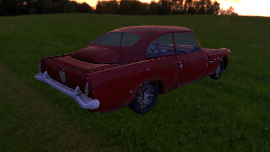 Abandoned Old Luxury Car royalty-free 3d model - Preview no. 8