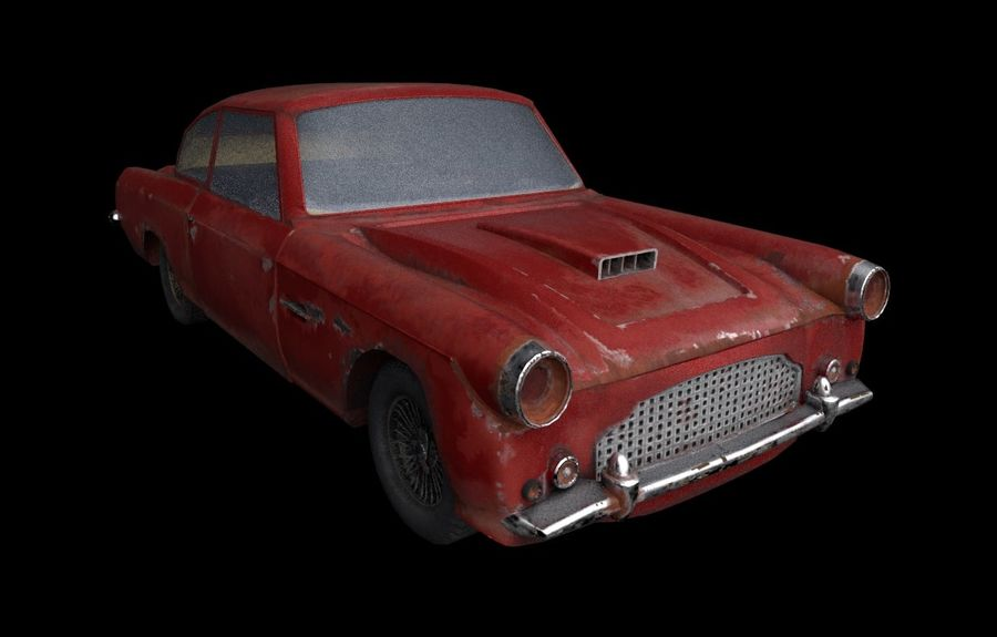 Abandoned Old Luxury Car royalty-free 3d model - Preview no. 1
