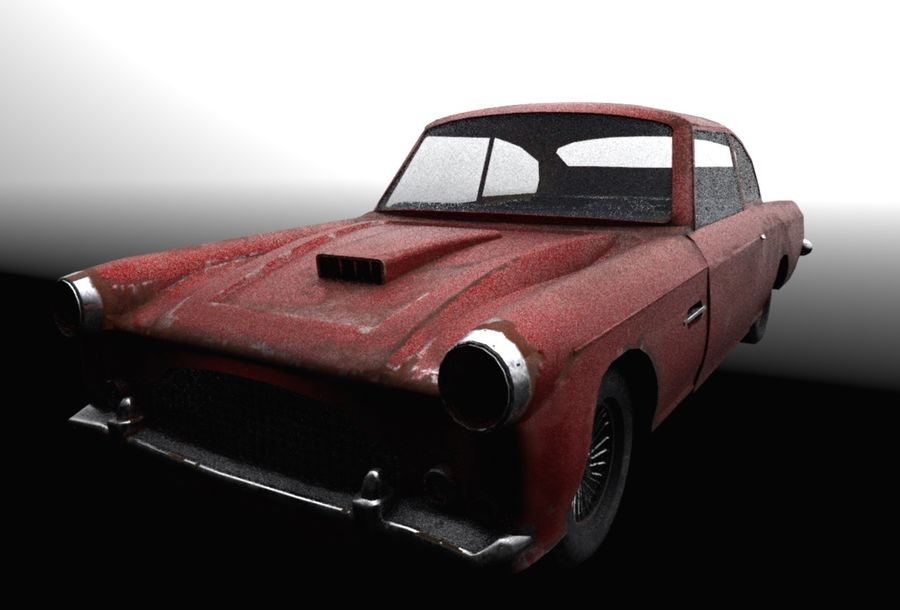 Abandoned Old Luxury Car royalty-free 3d model - Preview no. 4