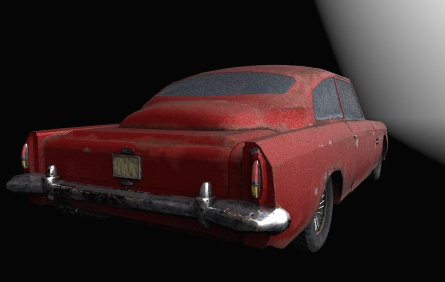 Abandoned Old Luxury Car royalty-free 3d model - Preview no. 5