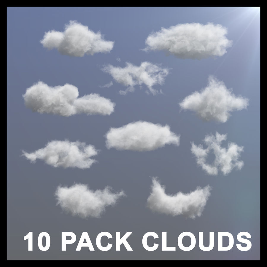 3D Clouds - 10 PACK - VDB royalty-free 3d model - Preview no. 1