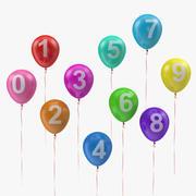 Luchtballonnen met getallen en linten 3d model