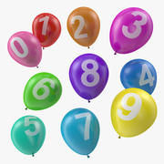 Globos de aire con números modelo 3d