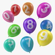 Luftballons mit Zahlen 3d model