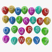 Alphabet on Balloons Modèle 3D 3d model