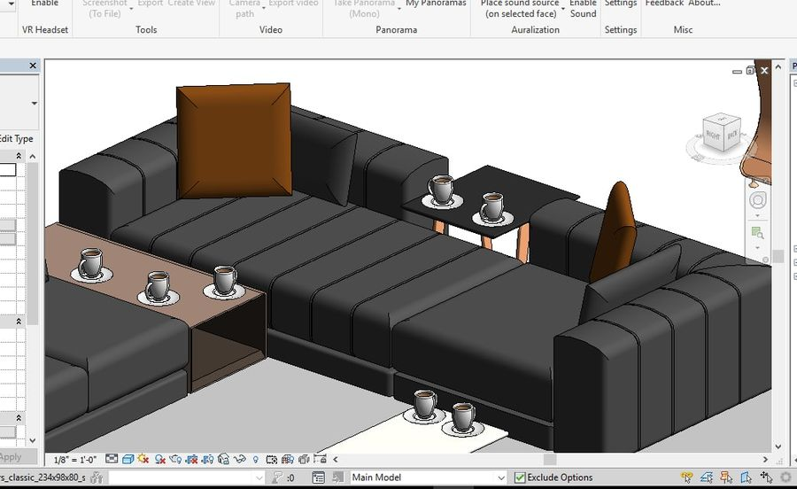 Tryb 3D Furniture Revit 2018 royalty-free 3d model - Preview no. 14