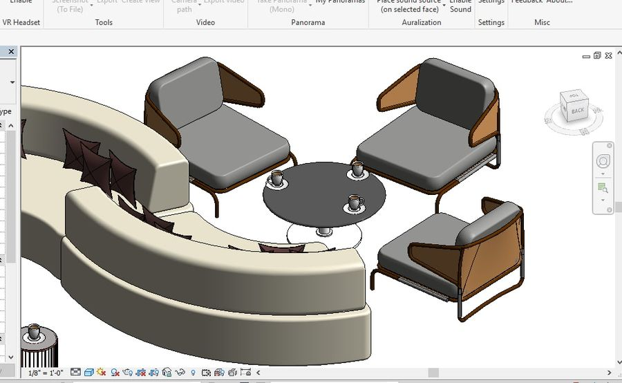 Tryb 3D Furniture Revit 2018 royalty-free 3d model - Preview no. 9