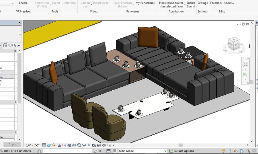 Tryb 3D Furniture Revit 2018 royalty-free 3d model - Preview no. 12
