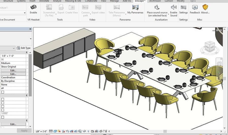 Tryb 3D Furniture Revit 2018 royalty-free 3d model - Preview no. 7