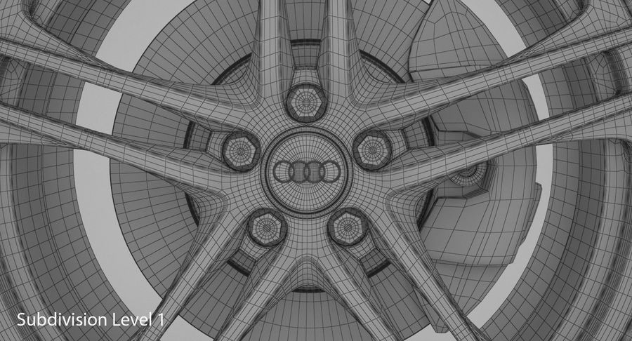 Ruota Audi R8 royalty-free 3d model - Preview no. 20