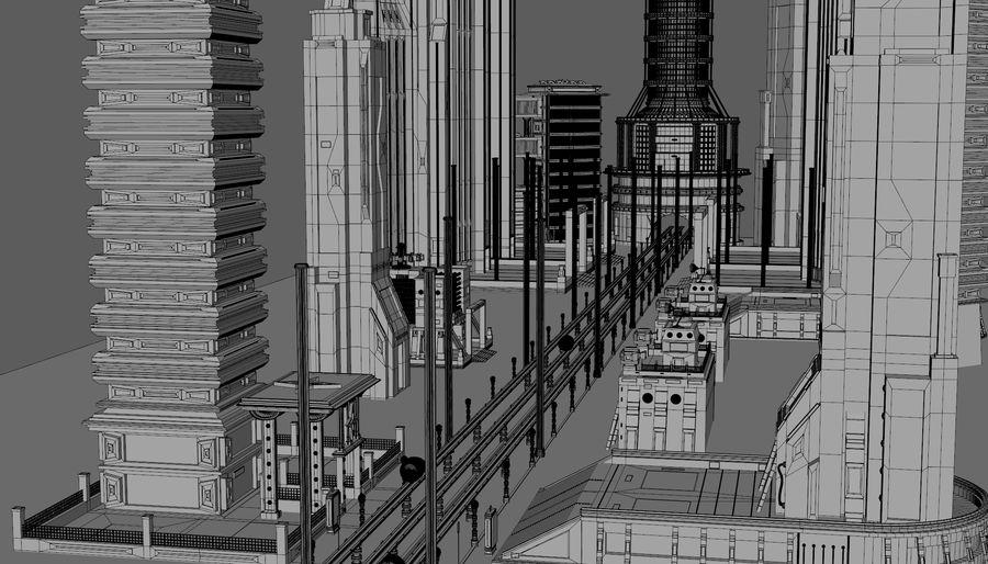 科幻城市街 royalty-free 3d model - Preview no. 9