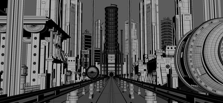 科幻城市街 royalty-free 3d model - Preview no. 3