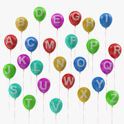 Alfabet op ballonnen met linten 3d model