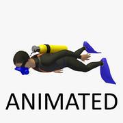 Animated Diver 2 Onderwater zwemmen 3d model