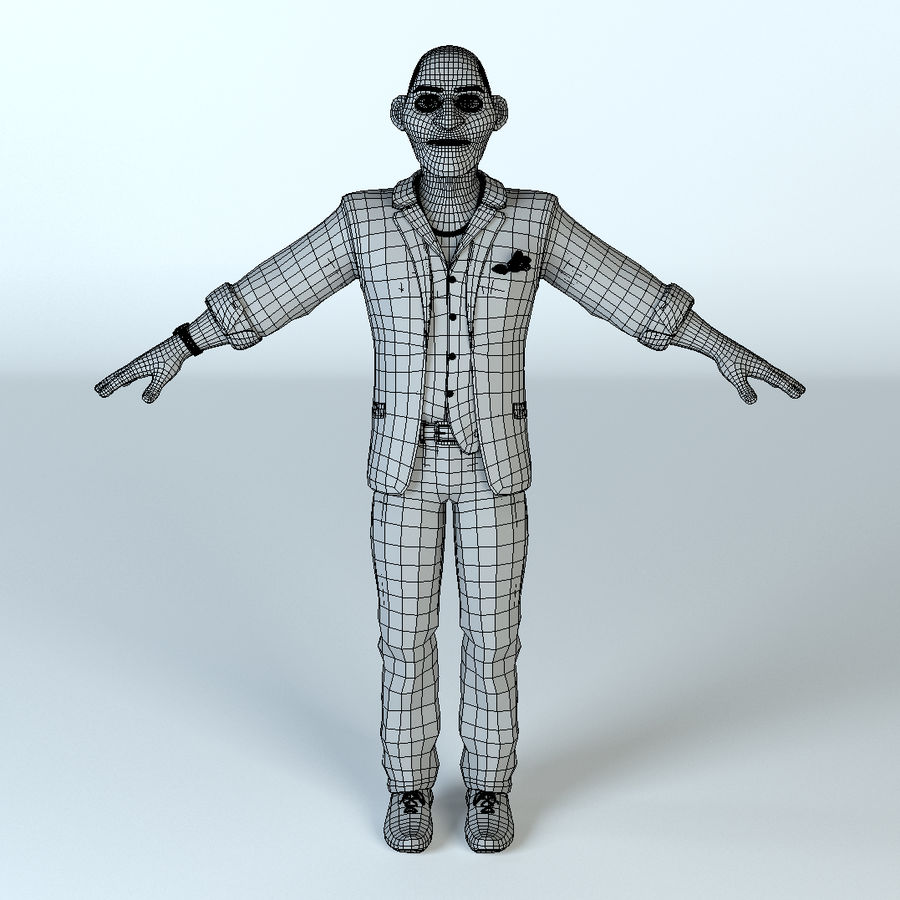 卡通坏人 royalty-free 3d model - Preview no. 7
