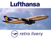Boeing 747-8 of Lufthansa airlines in retro livery. 3D model. 3d model