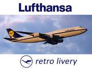 Lufthansa havayolları retro üniforma içinde Boeing 747-8. 3 boyutlu model. 3d model